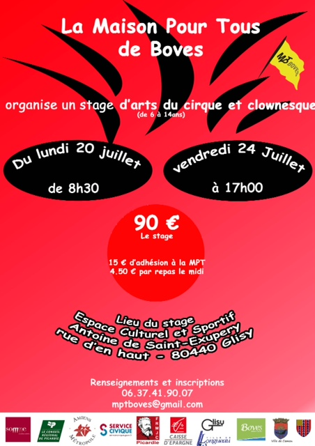 stage arts du cirque mpt boves du 20 au 24 juillet f d ration r gionale des mjc de picardie. Black Bedroom Furniture Sets. Home Design Ideas